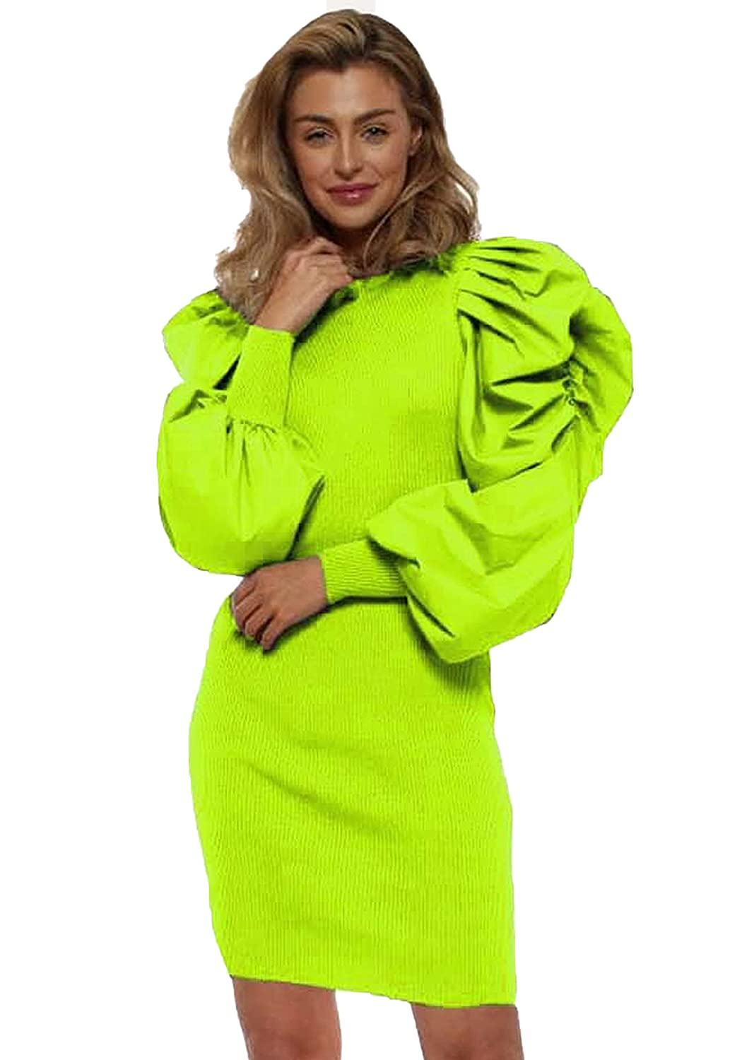 Pour Femme Puff Sleeve Bodycone One Piece Dress