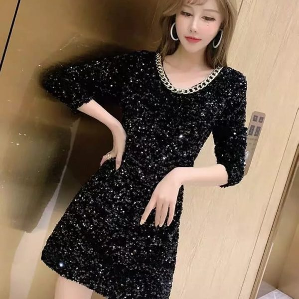 Beautiful Pour Femme Sequence Sleeve Bodycone Dress A