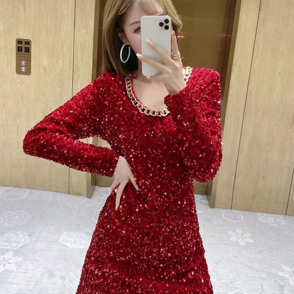 Beautiful pour Famme Sequence Sleeve Bodycone Dress 021