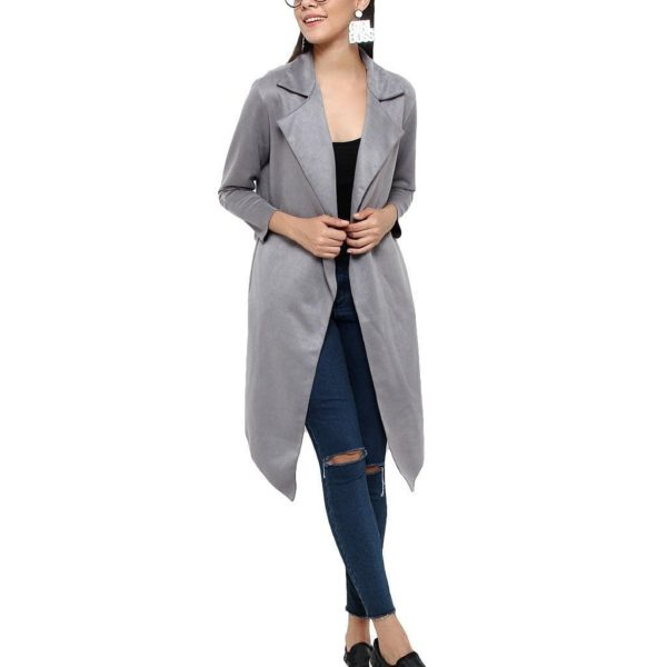 POUR FEMME Full Sleeve Suede Winter Coats