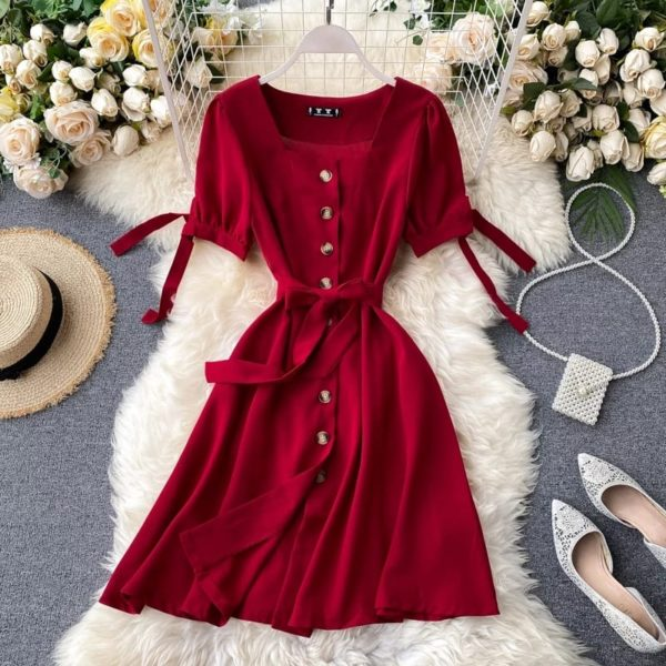 Pour Femme Beautiful Valentine Special One Piece Buttoned Dress041