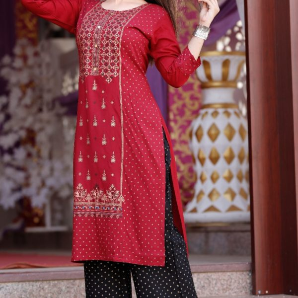 Pour Femme Red Printed Kurta With Black Printed Plazzo Set060