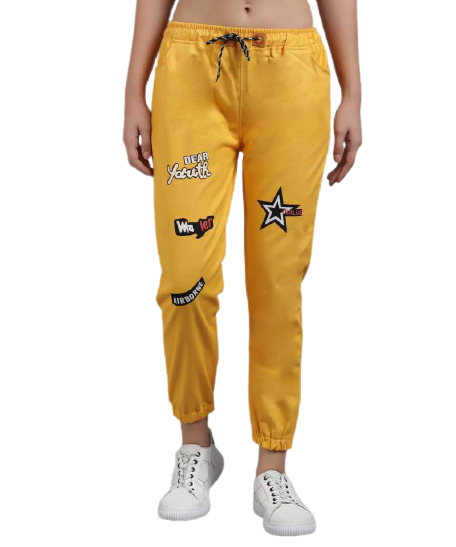 POUR FEMME Yellow Twill Jogger for Women