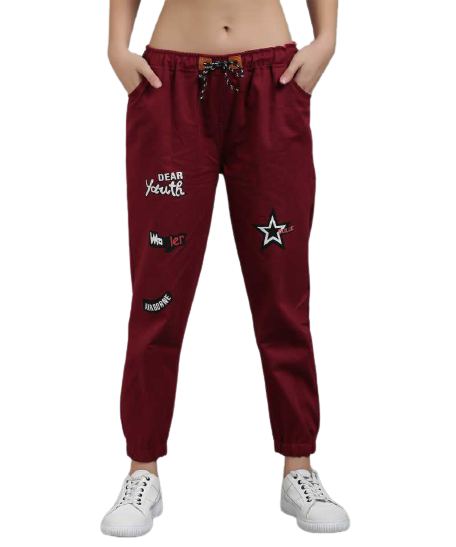 POUR FEMME Maroon Twill Jogger for Women