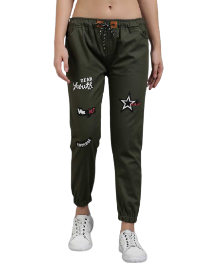 POUR FEMME Olive Green Twill Jogger for Women
