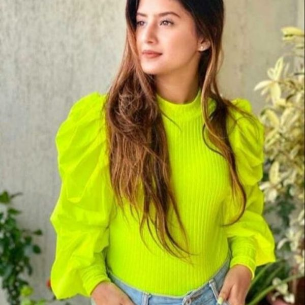 POUR FEMME Beautiful Neon Green Knitted Top with Puff Sleeve
