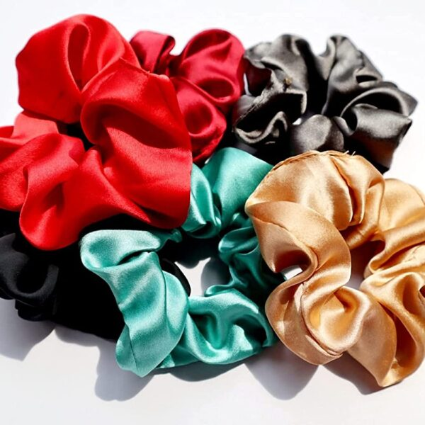 Pour Femme Satin Scrunchies for girls Pack of 6, All different colors