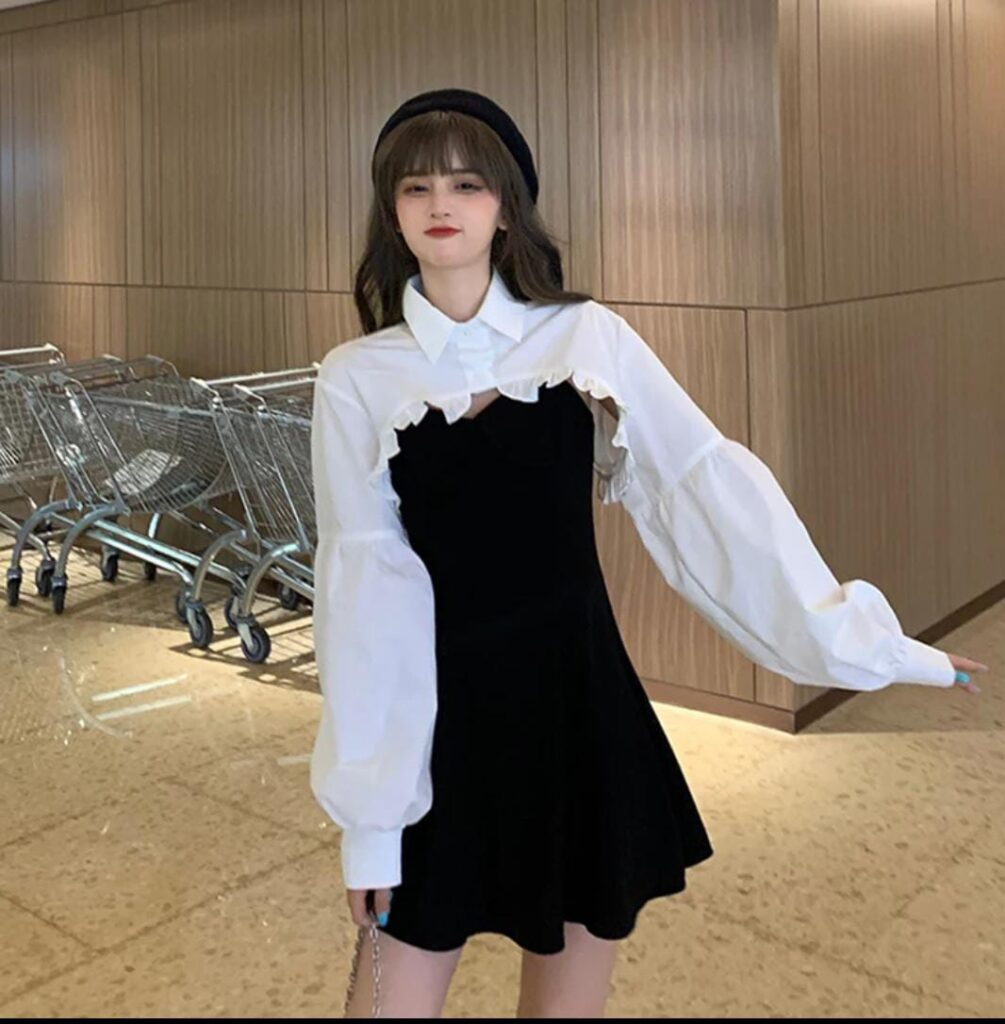 Beautiful Pour Femme A-line Strap Dress with Ruffles Collar Shirt Style Shrug018