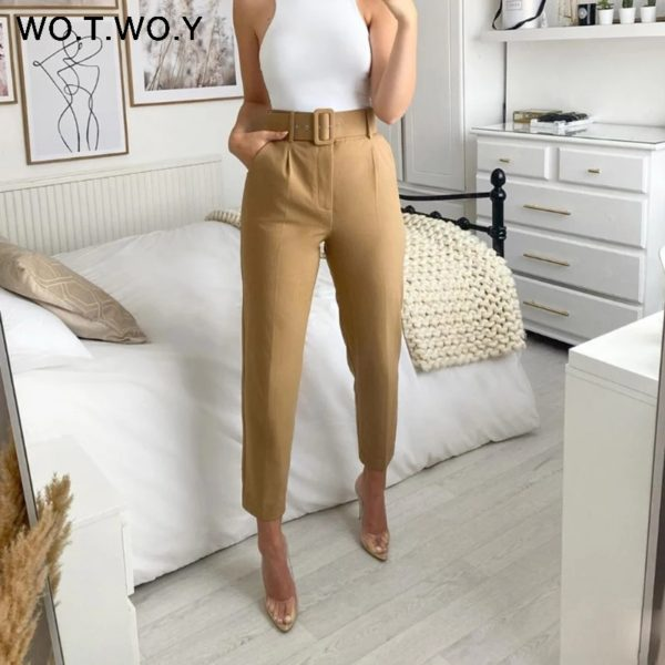 Business Trouser Women's Pant with Fine Quality Belt 0151A