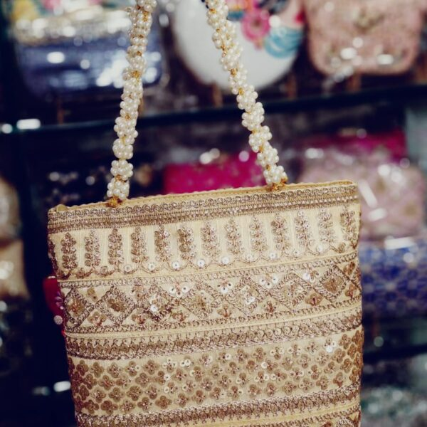 POUR FEMME Beautiful Handmade Jari Work with Pearl Embellished Bag0124A
