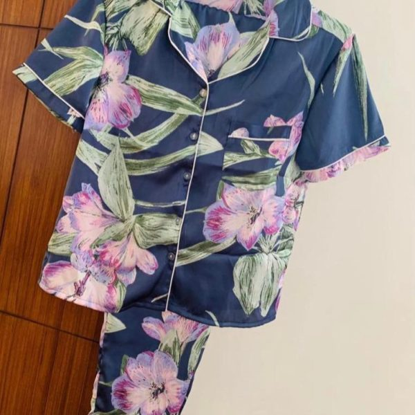 POUR FEMME Premium Quality Printed Satin Nightsuit -Half Sleeve Shirt with Cute Pj's0167A