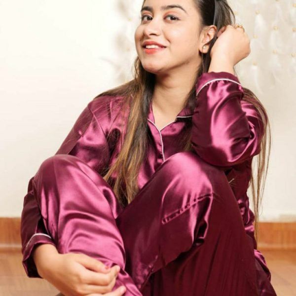 POUR FEMME Premium Quality Satin Nightsuit - Full Sleeve Shirt with Cute Pj's0168B