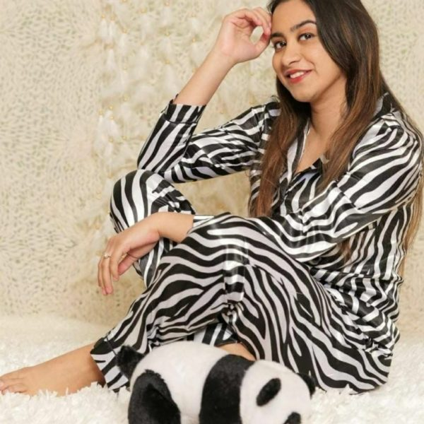 POUR FEMME Premium Quality Satin Nightsuit - Full Sleeve Shirt with Cute Pj's0170