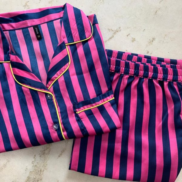 POUR FEMME Premium Quality Striped Satin Nightsuit - Full Sleeve Shirt with Cute Pj's0169C