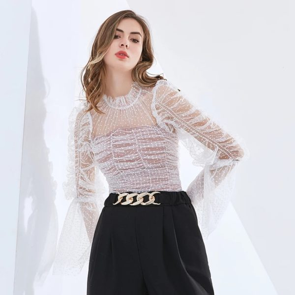 POUR FEMME Zailley Dot Perspective Ruched Tops For Women Stand Collar Long Sleeve with Sexy Slim T Shirts 0149A