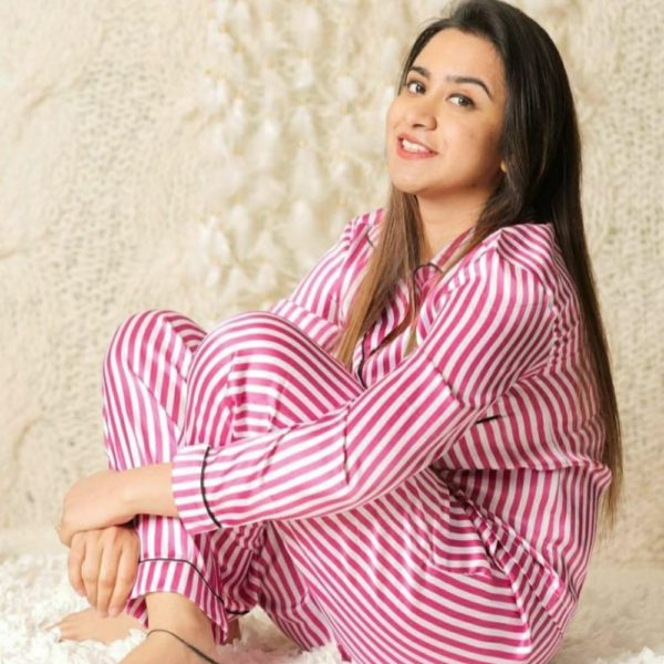 Pour Famme Premium Quality Striped Satin Nightsuit - Full Sleeve Shirt with Cute Pj's0165