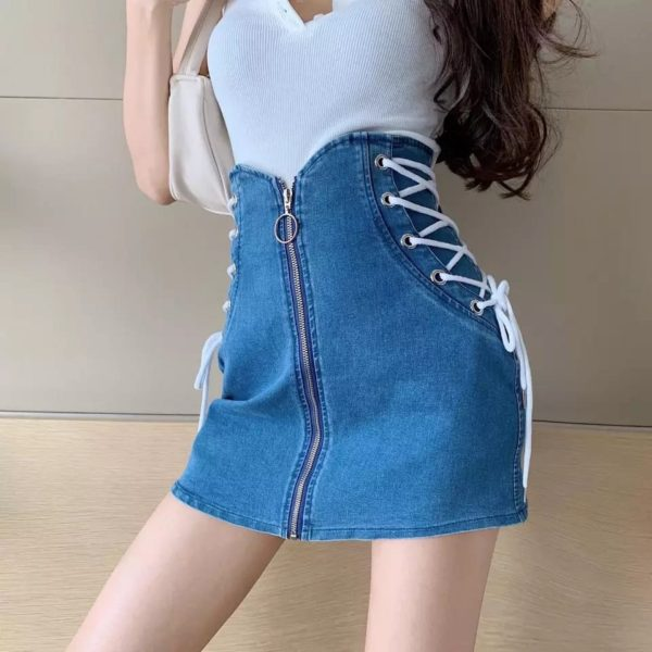 Pour Femme Beautiful Valentine Special Our Cute Little Denim Mini Skirt with Lace up detail.02