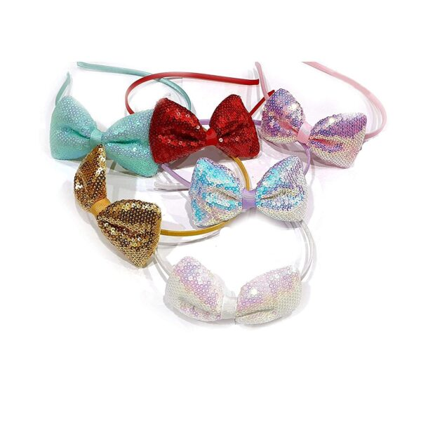 POUR FEMME Baby Girl's Glitter Bow Headband For Girls (Any color) Pack Of 30147