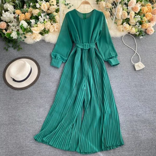 POUR FEMME Balloon Sleeve Round Neck Pleated Jumpsuit with Belt049