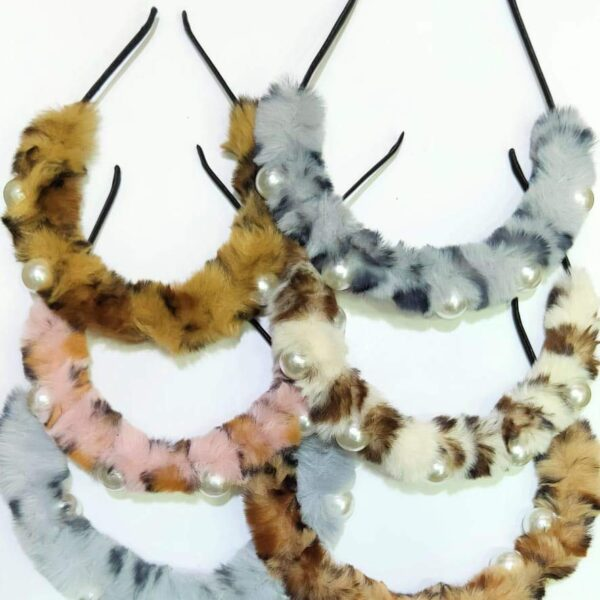 POUR FEMME Beautiful Animal Print Furry Hairband with Pearl Embellished (Random Colour) Pack of 1069