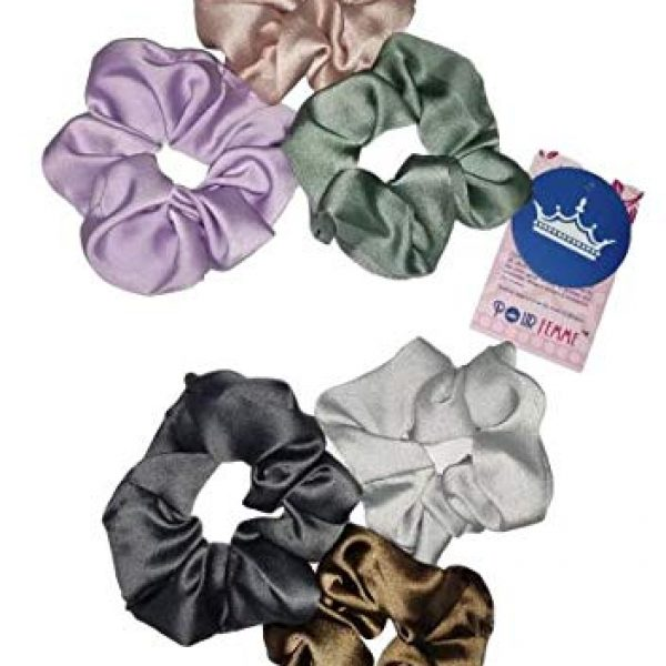 POUR FEMME Big Size in Random Colour, Silk Satin Hair Scrunchies Elastic band, Large -Pack of 60150