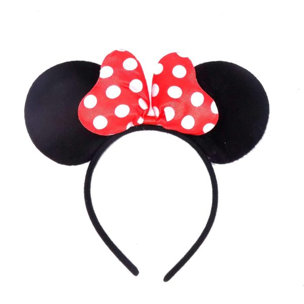 POUR FEMME Cute Mini Heart Puff Bow, Mouse Ear HairBand For Kids Party0156