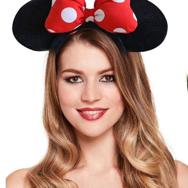 POUR FEMME Cute Mini Heart Puff Bow, Mouse Ear HairBand For Kids Party0156B