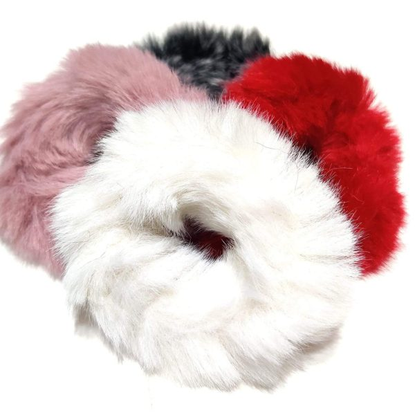 POUR FEMME Furry Elastic Colorful Soft Fluffy Rubber Bands (Pack Of 4) Any Colour0157C