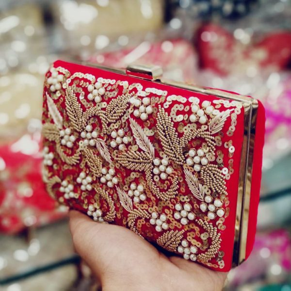 POUR FEMME Heavy Embroidery On Imported Frame Clutches09