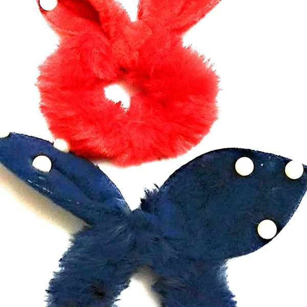 POUR FEMME Roll Over Image To Zoom In Bright Cute Pom Pom Fur Rabbit Ear Set Of 2 Hair Band Accessories For KidsGirls Rubber Band (Multicolor) Rubber Band (Multicolor) (Blue & Red)0141A