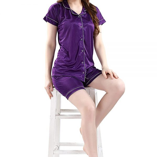 POUR FEMME Women Satin Short Sleeve Top and Shorts Nightsuit Set0184