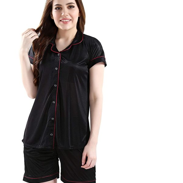 POUR FEMME Women Satin Short Sleeve Top and Shorts Nightsuit Set0186E