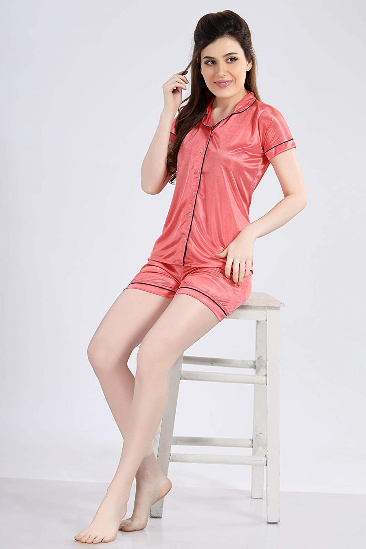 POUR FEMME Women Satin Short Sleeve Top and Shorts Nightsuit Set0187