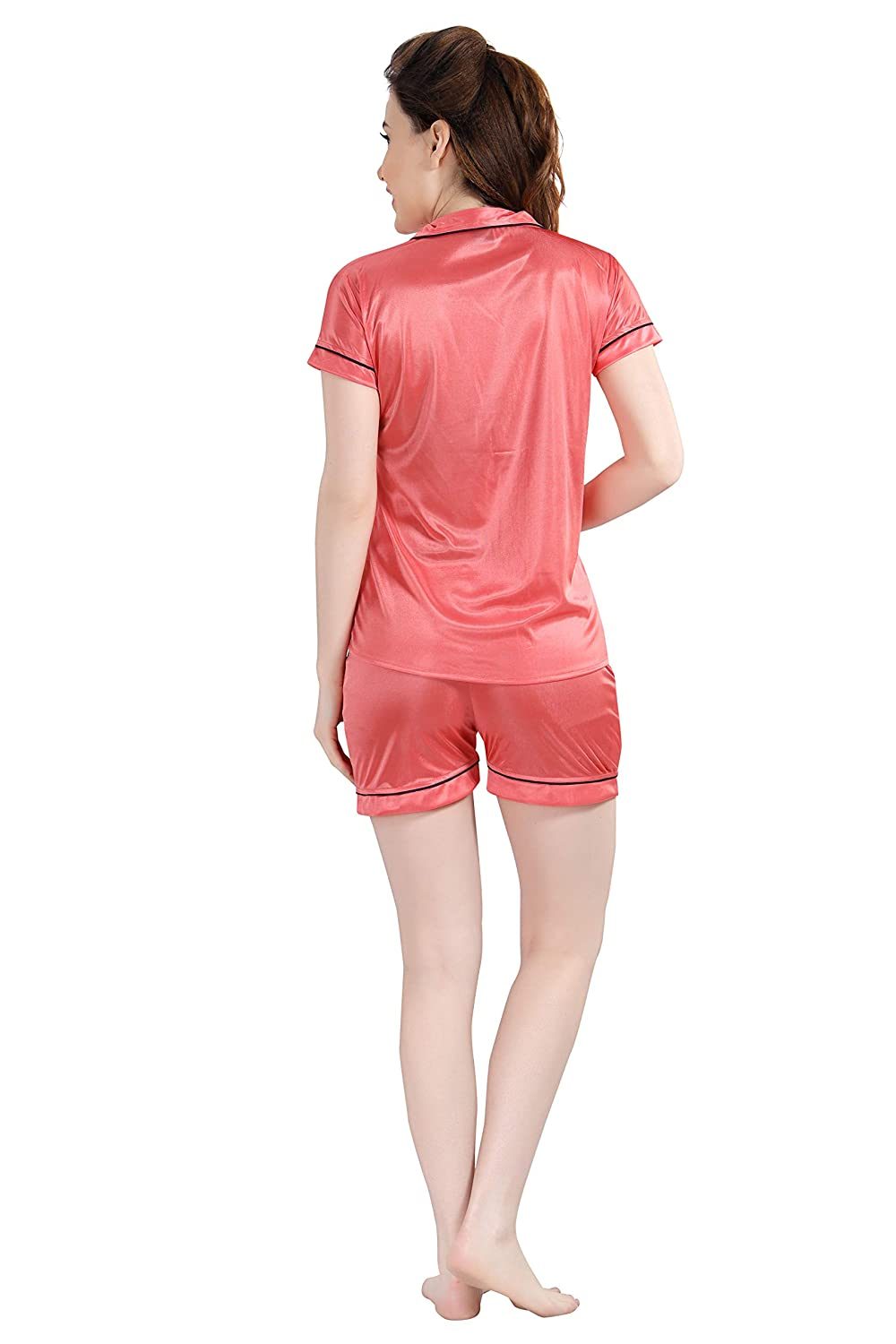 POUR FEMME Women Satin Short Sleeve Top and Shorts Nightsuit Set0187A