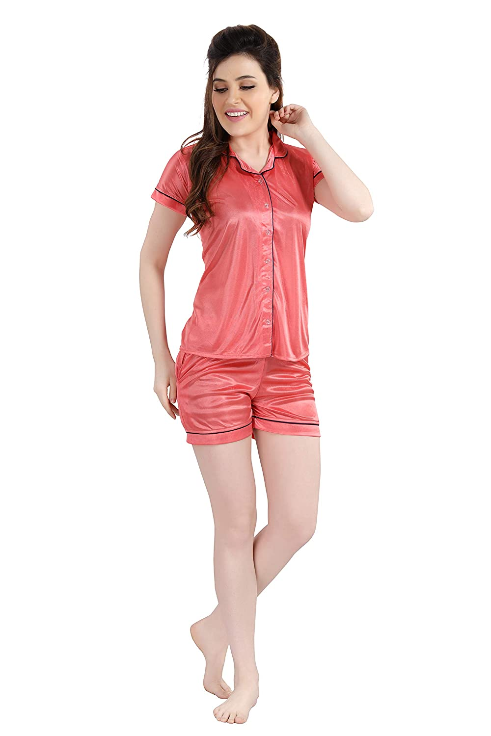 POUR FEMME Women Satin Short Sleeve Top and Shorts Nightsuit Set0187C
