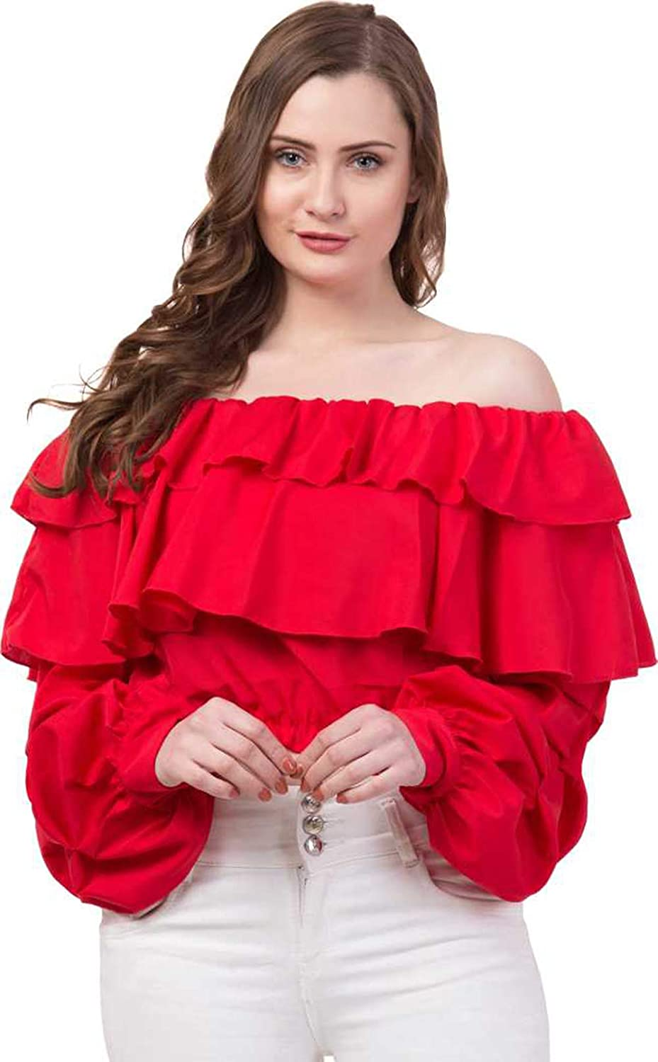 Pour Femme Stylish Multi Layered Full Sleeve Off- Shoulder Women's Top