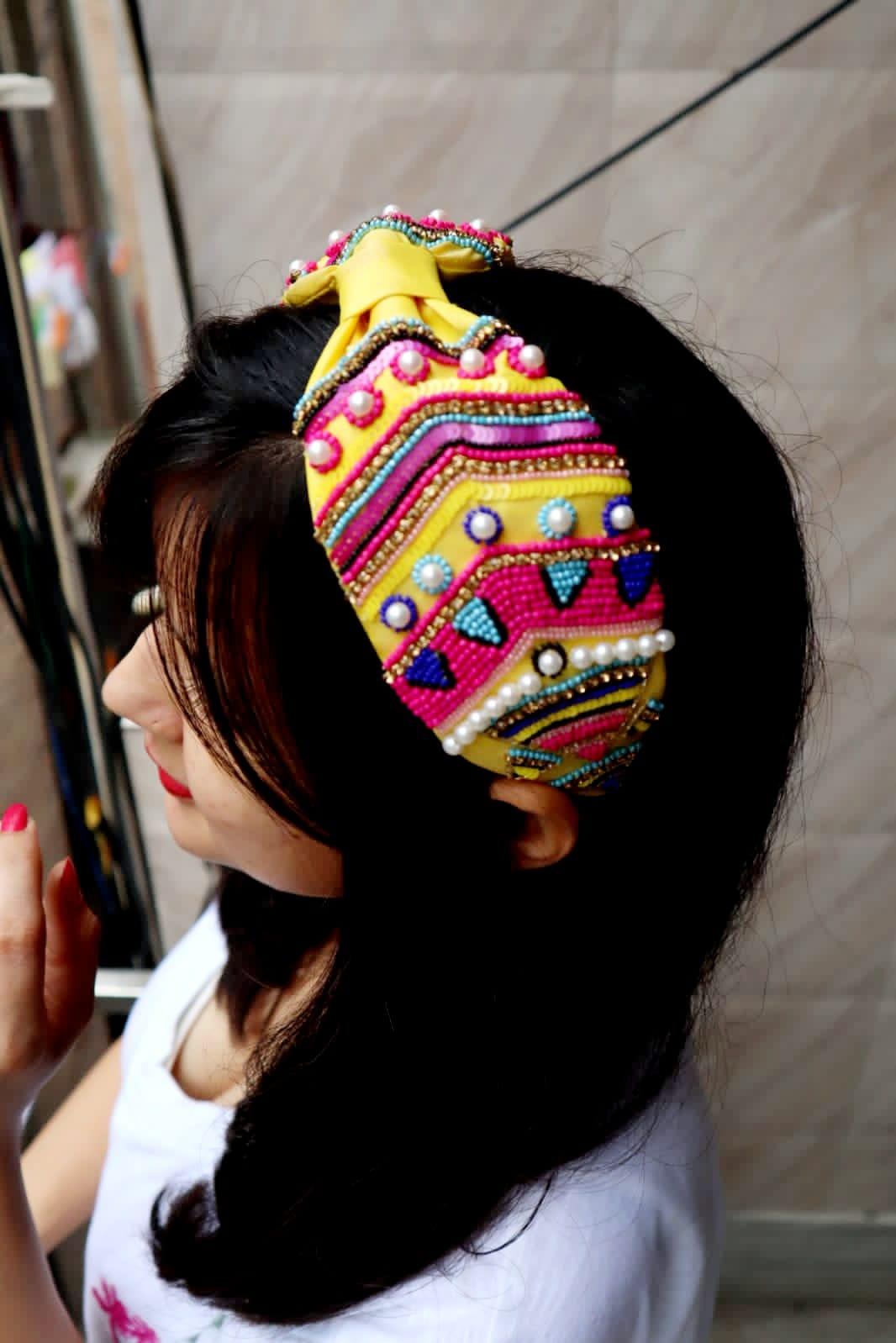 Trending Handmade Embroidery Headband Funky style Beads, Sequins,And Embellished, Turban Boho Style Broad Hairband, for Kids/ Girls /women